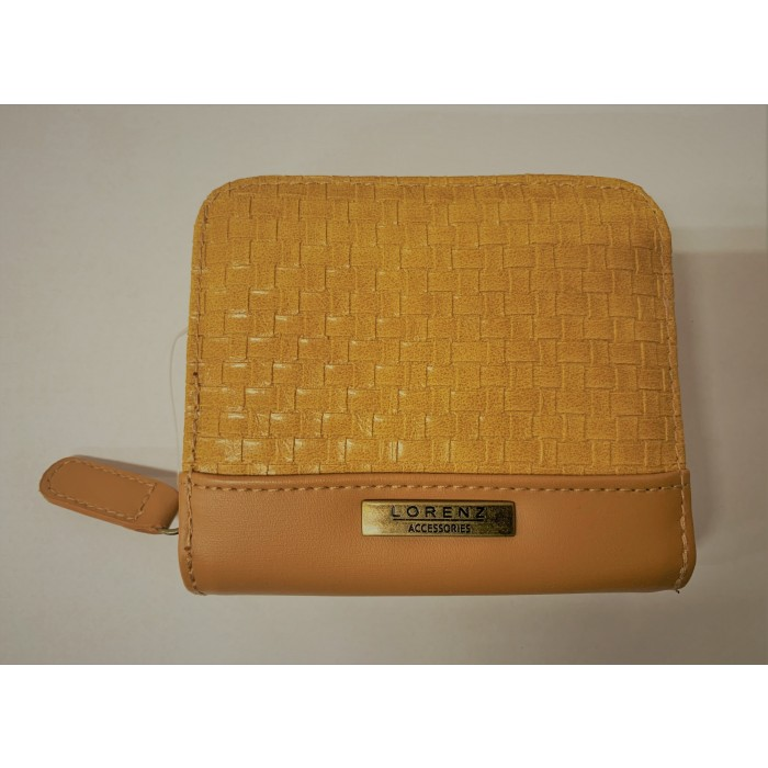 6217 YELLOW TAN MEDIUM LORENZ MIDDLE ZIP ROUND PURSE