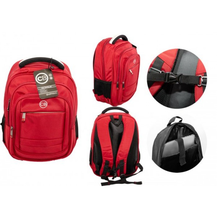 BP830S-RE RED BACKPACK W/LAPTOP SLEEVE CITY BAG