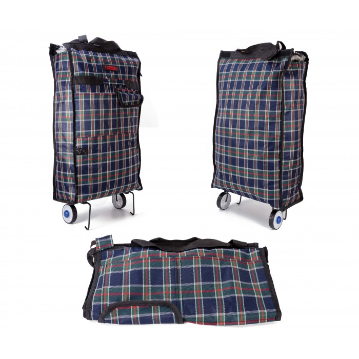 6950 TROLLEY TARTAN BLUE AND GREEN WITH TOP ZIP & FRONT ZIP POC