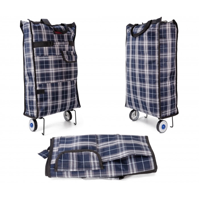 6950 TROLLEY TARTAN BLUE & GREY WITH TOP ZIP & FRONT ZIP POC