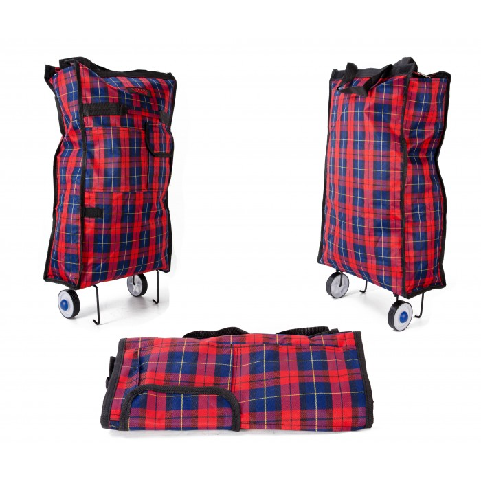 6950 TROLLEY TARTAN BLACK AND RED WITH TOP ZIP & FRONT ZIP POC