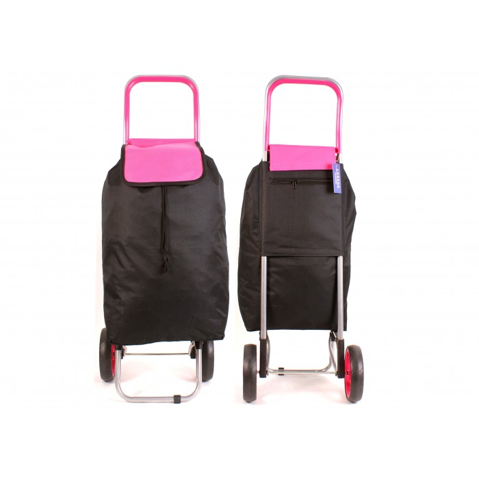 6954 PINK AND BLACK SHOPPING TROLLEY