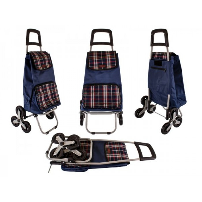 6960/W NAVY CHECK 6 WHEEL STAIR CLIMBER SHOPPING TROLLEY