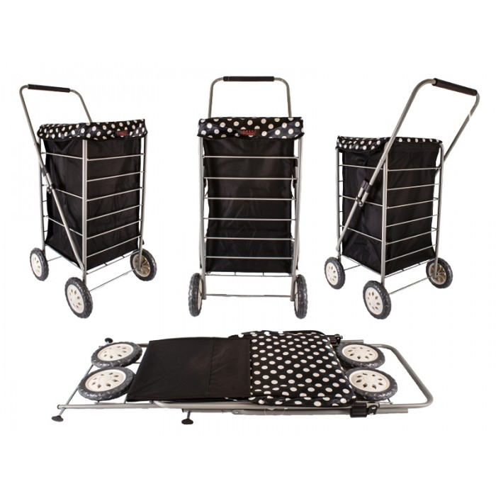 6963/W BLACK&POLKA DOTS 4 WHEEL CAGE SHOPPING TROLLEY