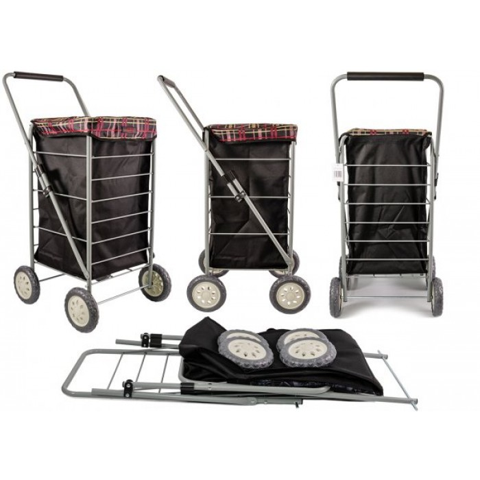 6963/S BLACK CHECK FOUR WHEEL TROLLEY