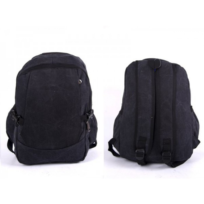 2617 BLACK CANVAS BACKPACK WIT 4 ZIPS & 2 SIDE POCKETS