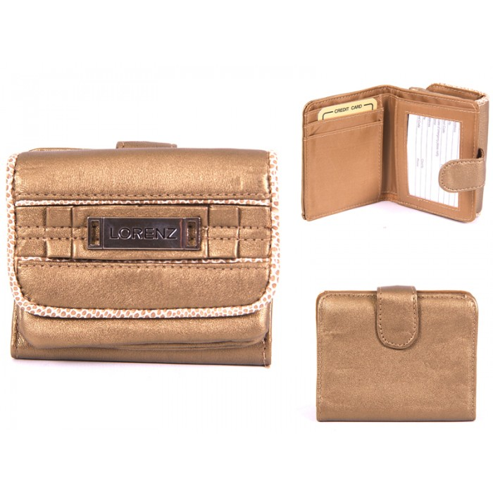 7427 GOLD SMALL SOFT PU PURSE WITH WALLET SEC & TRIM