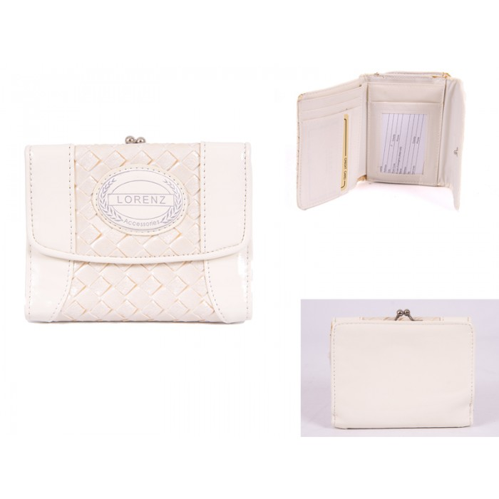 7439 WHITE 11 CM PATENT INTERWEAVE PVC PURSE WITH ZIP