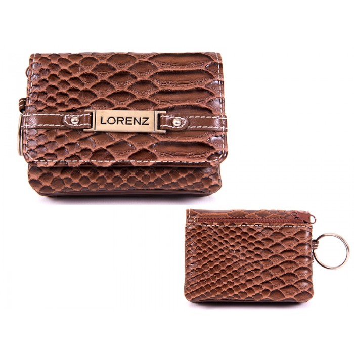7486 BROWN SMALL SNAKE PU PURSE WT ZIPS,FLAPS & KEYRING