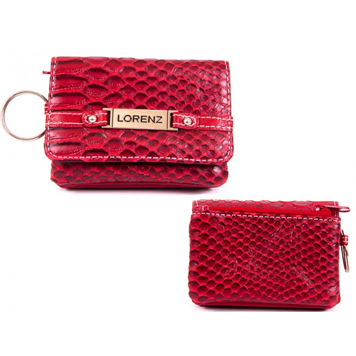 7486 RED SMALL SNAKE PU PURSE WT ZIPS,FLAPS & KEYRING