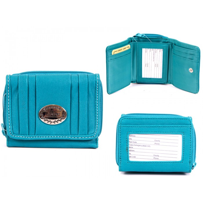 7572 AQUA PU PURSE, POP FRONT & REAR ZIPPED POCKET