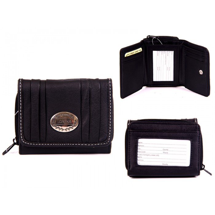 7572 BLACK PU PURSE, POP FRONT & REAR ZIPPED POCKET
