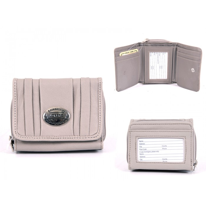 7572 GREY PU PURSE, POP FRONT & REAR ZIPPED POCKET