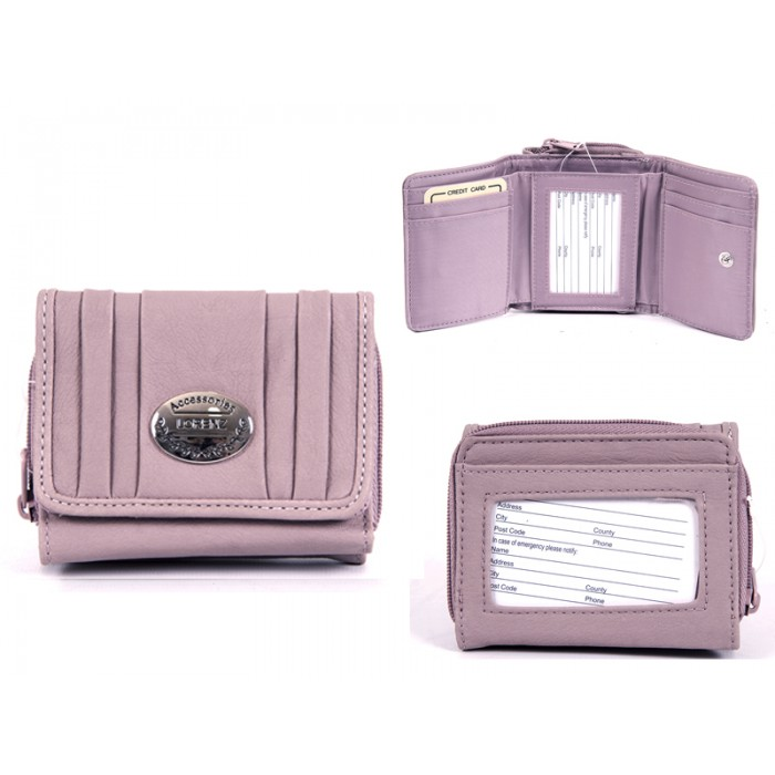 7572 PINK PU PURSE, POP FRONT & REAR ZIPPED POCKET
