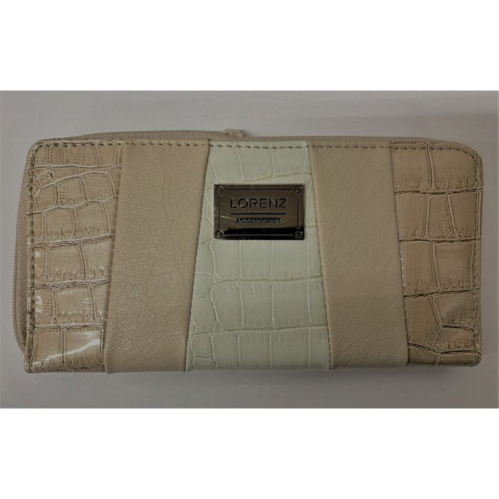 7578 BEIGE AND CREAM THREE TONE LORENZ CROC ZIP ROUND PURSE