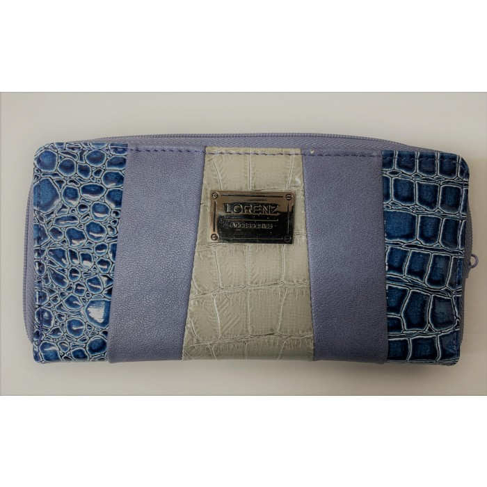 7578 BLUE AND GREY THREE TONE LORENZ CROC ZIP ROUND PURSE