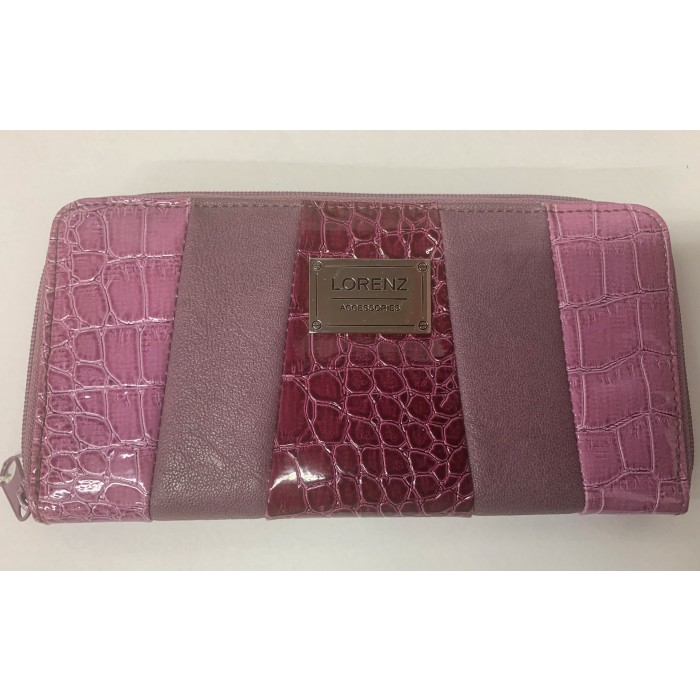 7578 PURPLE AND BURGUNDY THREE TONE LORENZ CROC ZIP ROUND PURSE