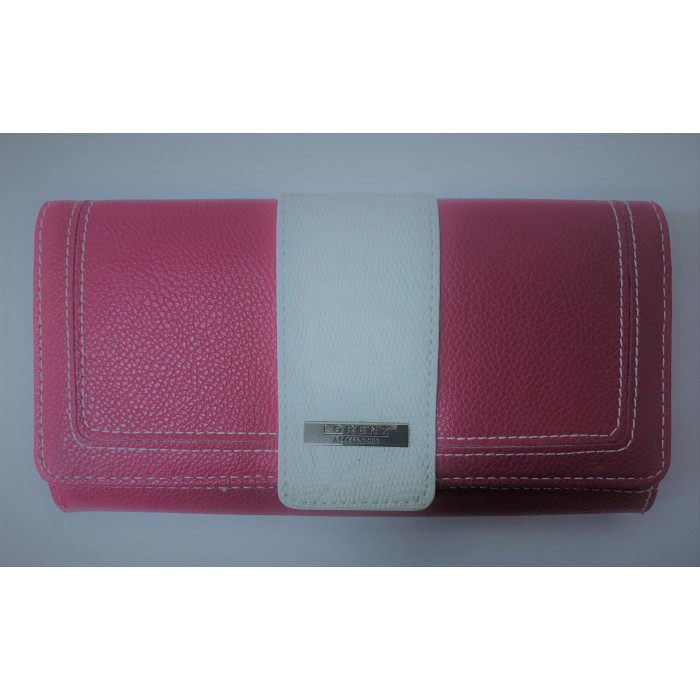 7616 PINK LEATHER GRAIN FLAP OVER ROUND PURSE