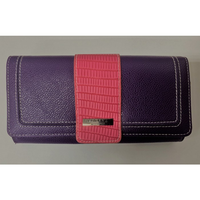 7616 PURPLE LEATHER GRAIN FLAP OVER ROUND PURSE
