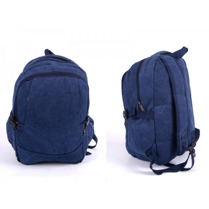 2617 BLUE CANVAS BACKPACK WIT 4 ZIPS & 2 SIDE POCKETS