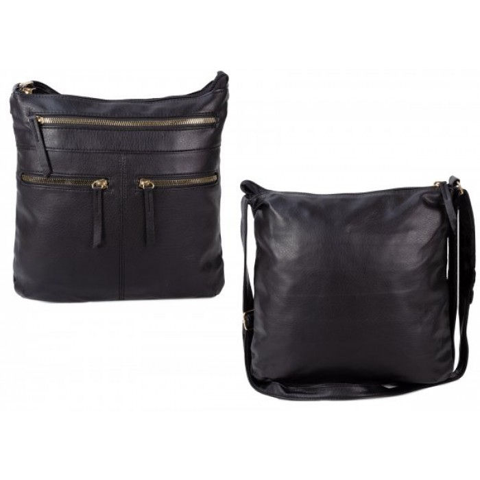 JBFB292 BLACK PU CROSSBAG W/4 ZIPS
