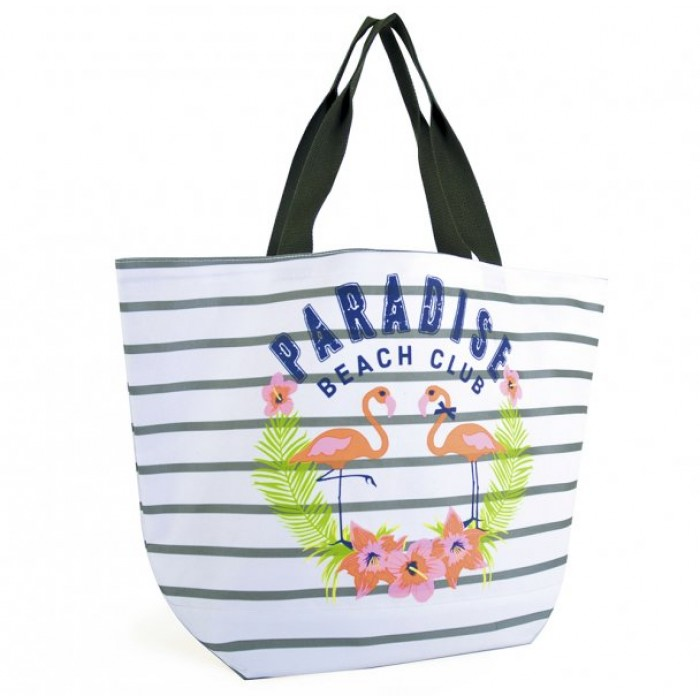 BB1026 STRIPED CANVAS BAG WITH SLOGAN WHITE