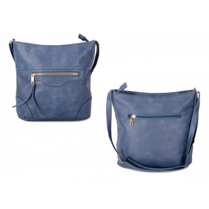 JBFB304 BLUE PU CROSSBAG W/ 3 ZIPS AND TASSEL