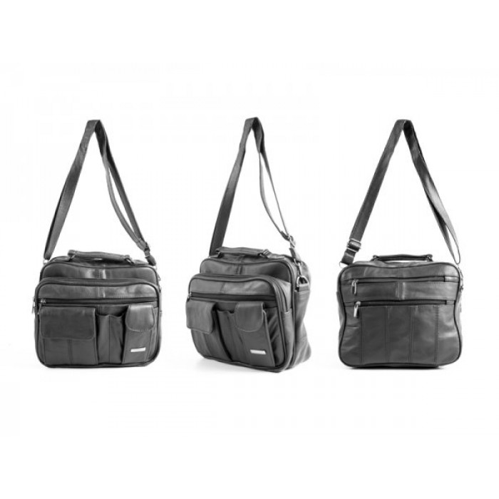 3727 BLACK LRG C.HIDE UNISEX/GNTS/TRVL MULTI PKT BAG