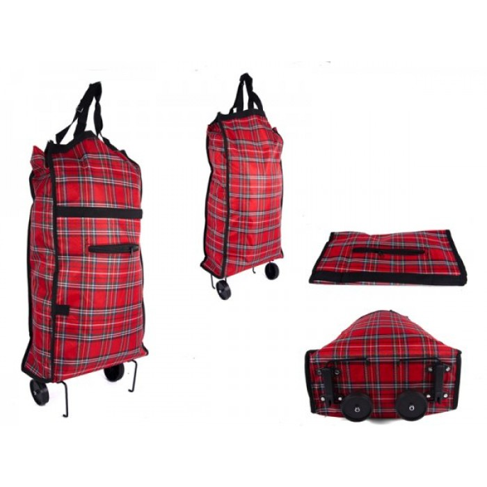 6951 RED CHECK FOLDING 2 WHEEL SHOPPING TROLLEY