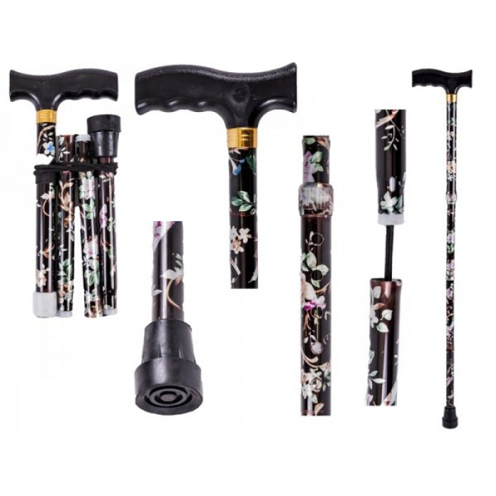 2884 O 2881 UNISEX BLACK FLORAL PATTERNED FOLDABLE WALKING STICK