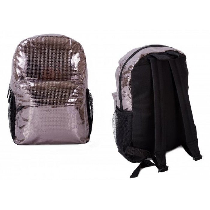 TMC-02028 SILVER AND BLACK BACKPACK W/ 2 ZIPS AND NETS