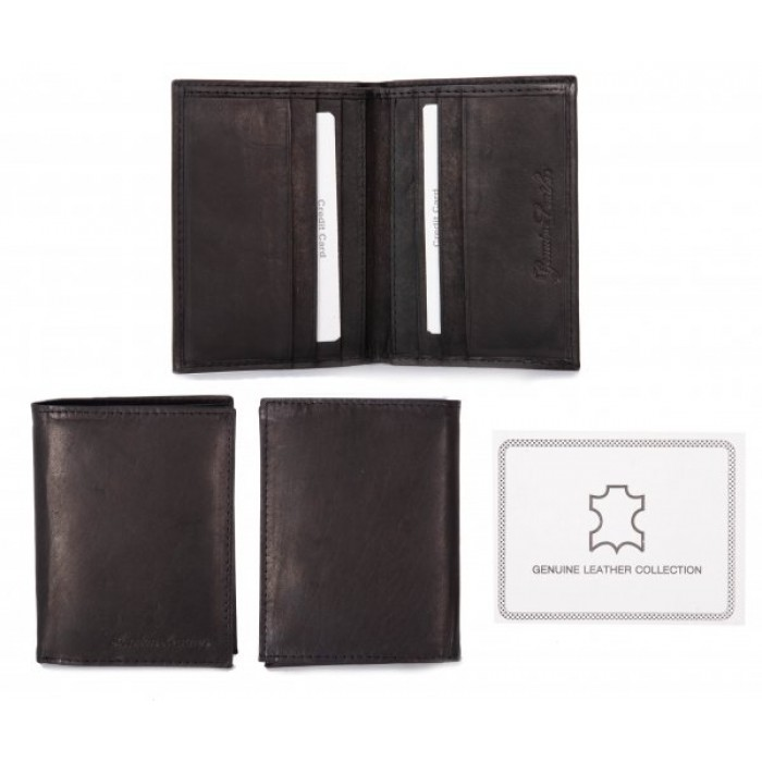 1009 RFID BLACK LONDON LEATHER WALLET W/CC SLOT