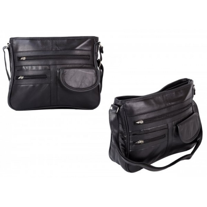 EV1010 BLACK LEATHER CROSSBAG W/ VELCRO POCKET