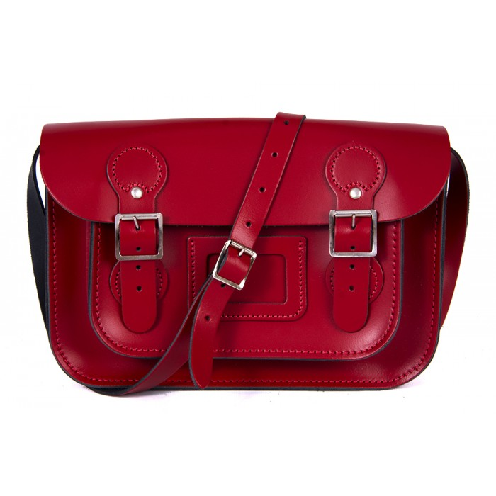 "11"" Rosy Red Patent English Leather Satchel - Circle Shape"