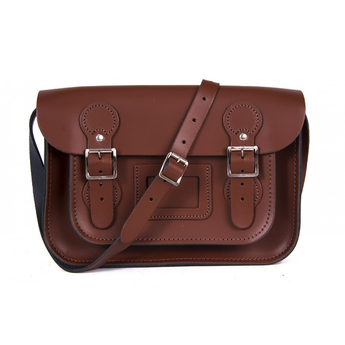 "11"" Brown English Leather Satchel - Circle Shape"