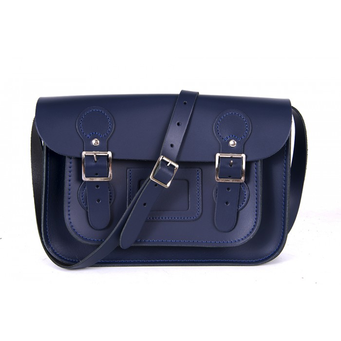"11"" Navy Blue English Leather Satchel - Circle Shape"