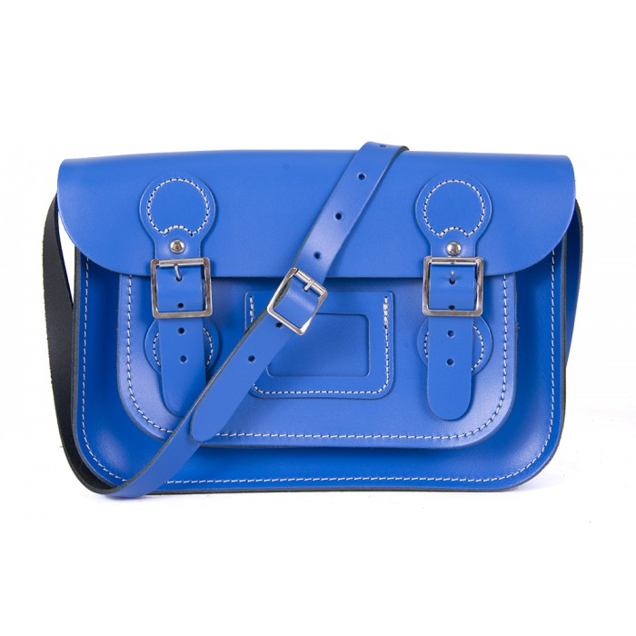 "11"" Oxford Blue English Leather Satchel - Circle Shape"