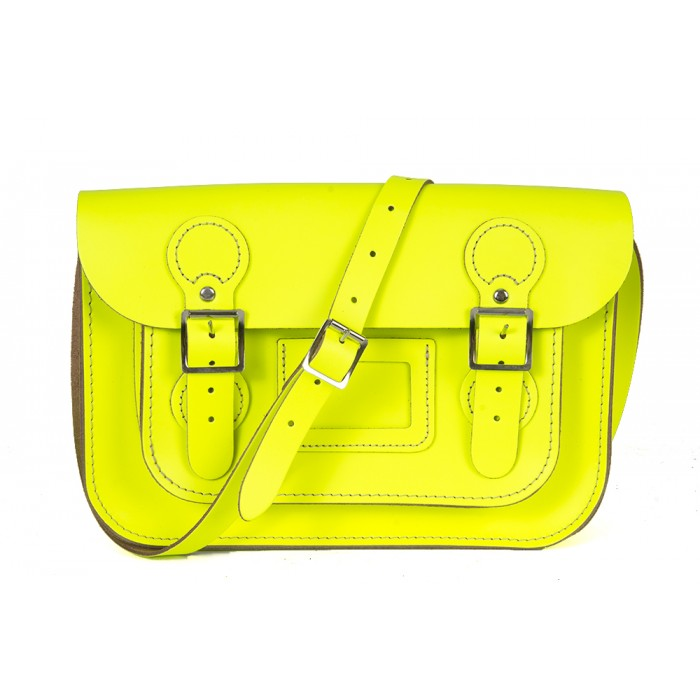 "11"" Flashy Yellow English Leather Satchel - Circle Shape"