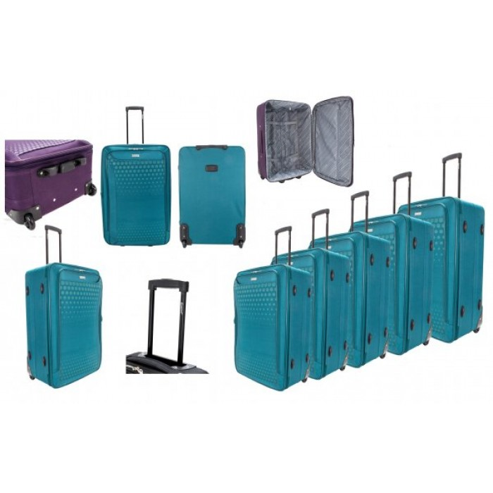 EV-426 2-WHEELED SOFTCASE LUGGAGE SET OF 3 IN TEAL