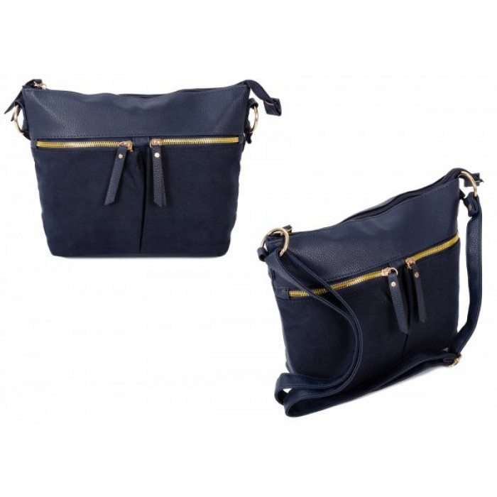 JBFB302 NAVY PU CROSSBAG W/ 3 ZIPS & SOFT TOUCH MATERIAL