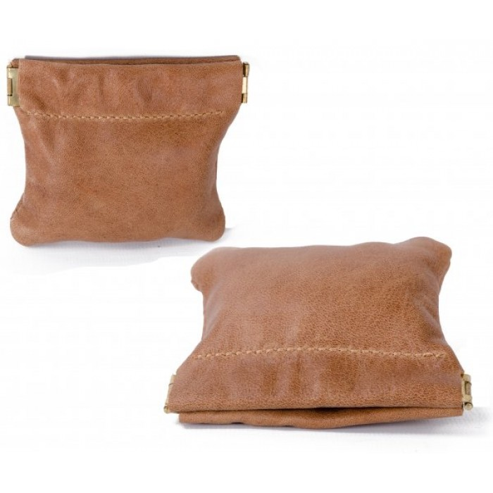 LEATHER SNAP PURSE TAN