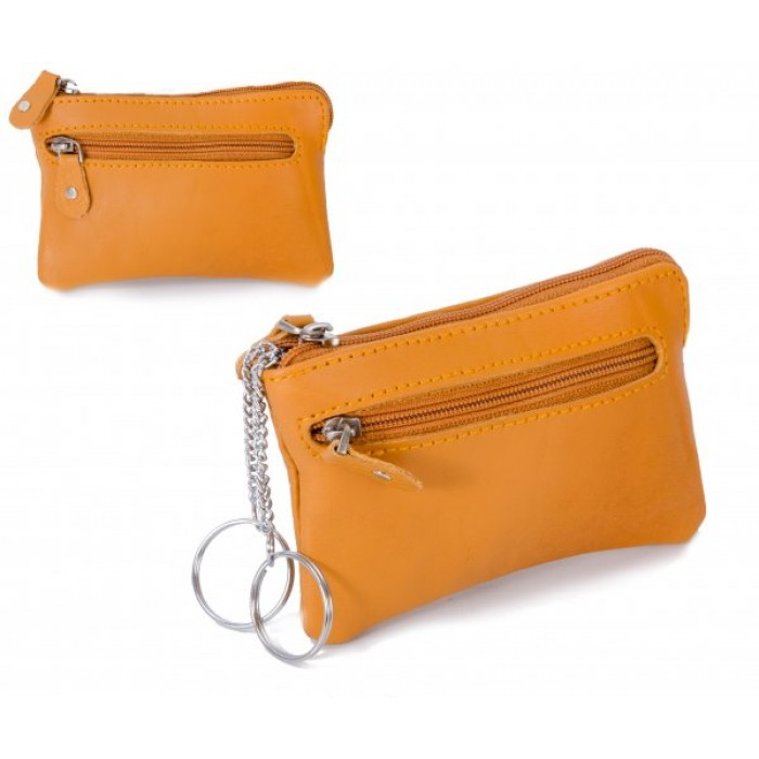 CPDM 55 TAN COIN PURSE W/ 2 KEY RINGS
