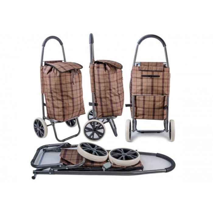 ST 03 BROWN CHECK 2 WHEEL SHOPPING TROLLEY