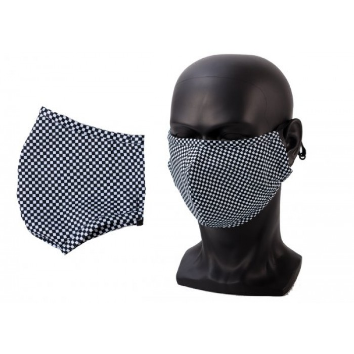 ANTI-DUST COTTON MASK FACE COVER UNISEX BLK/WHITE CHECK
