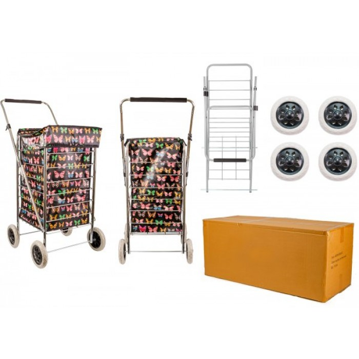 ST-FOUR-01 BLACK BUTTERFLY 4 WHEEL SHOPPING TROLLEY BOX OF 4
