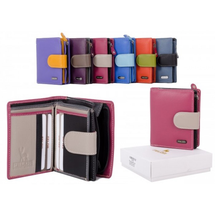 16-103 MAROON RFID MULTI LADIES WALLET