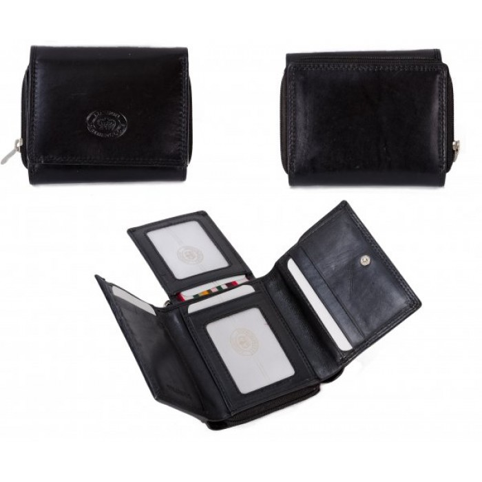 1076 BLACK LEATHER PURSE W/ FOLD OUT CARD SLOTS
