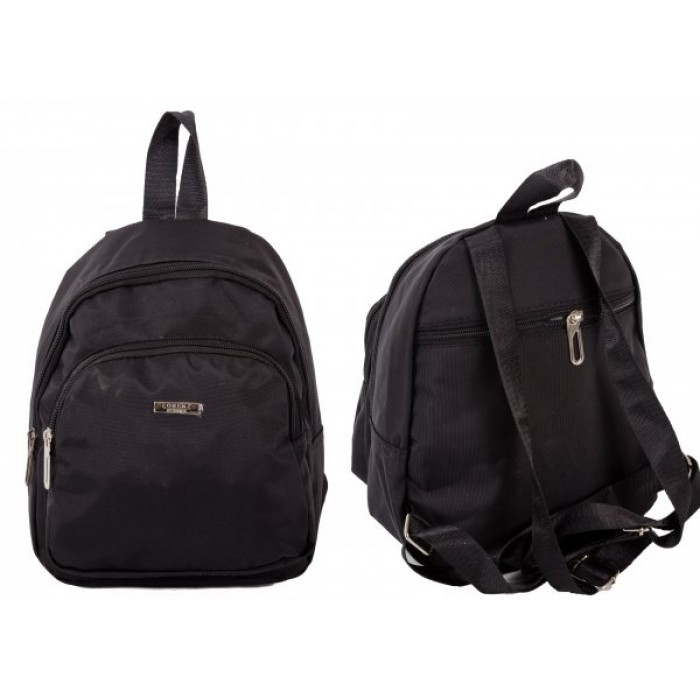 2456 BLACK COMPACK BCKPACK W/ TOP ZIP, FRNT ZPPD CO