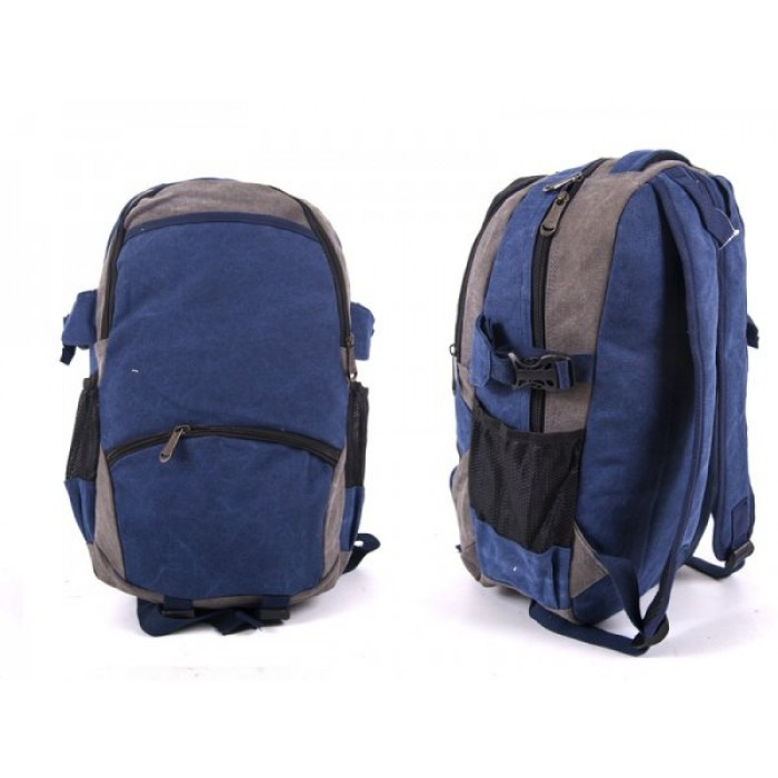 2616 BLUE/GREY CANVAS BACKPACK WIT 4 ZIPS & 2 SIDE POCKETS