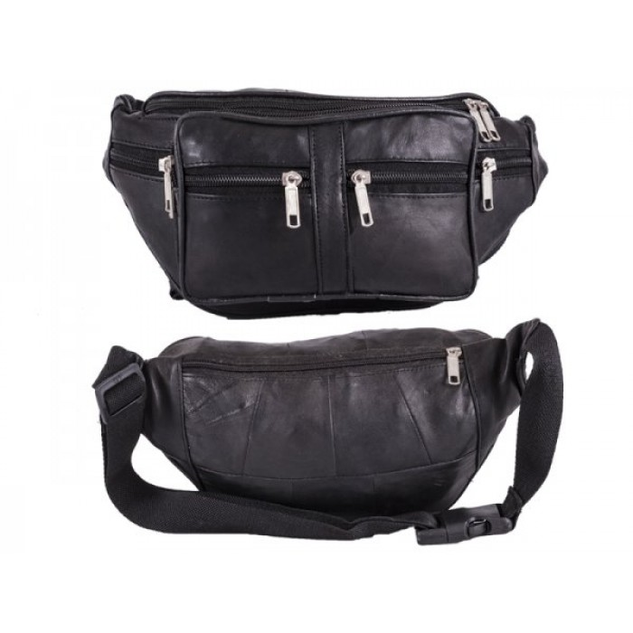 BB 001 BLACK SOFT LEATHER BUMBAG